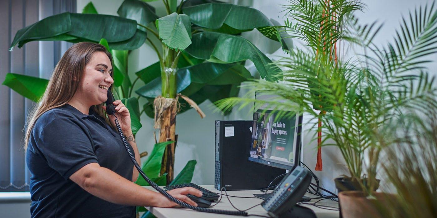 Rachel helping customers on the phone
