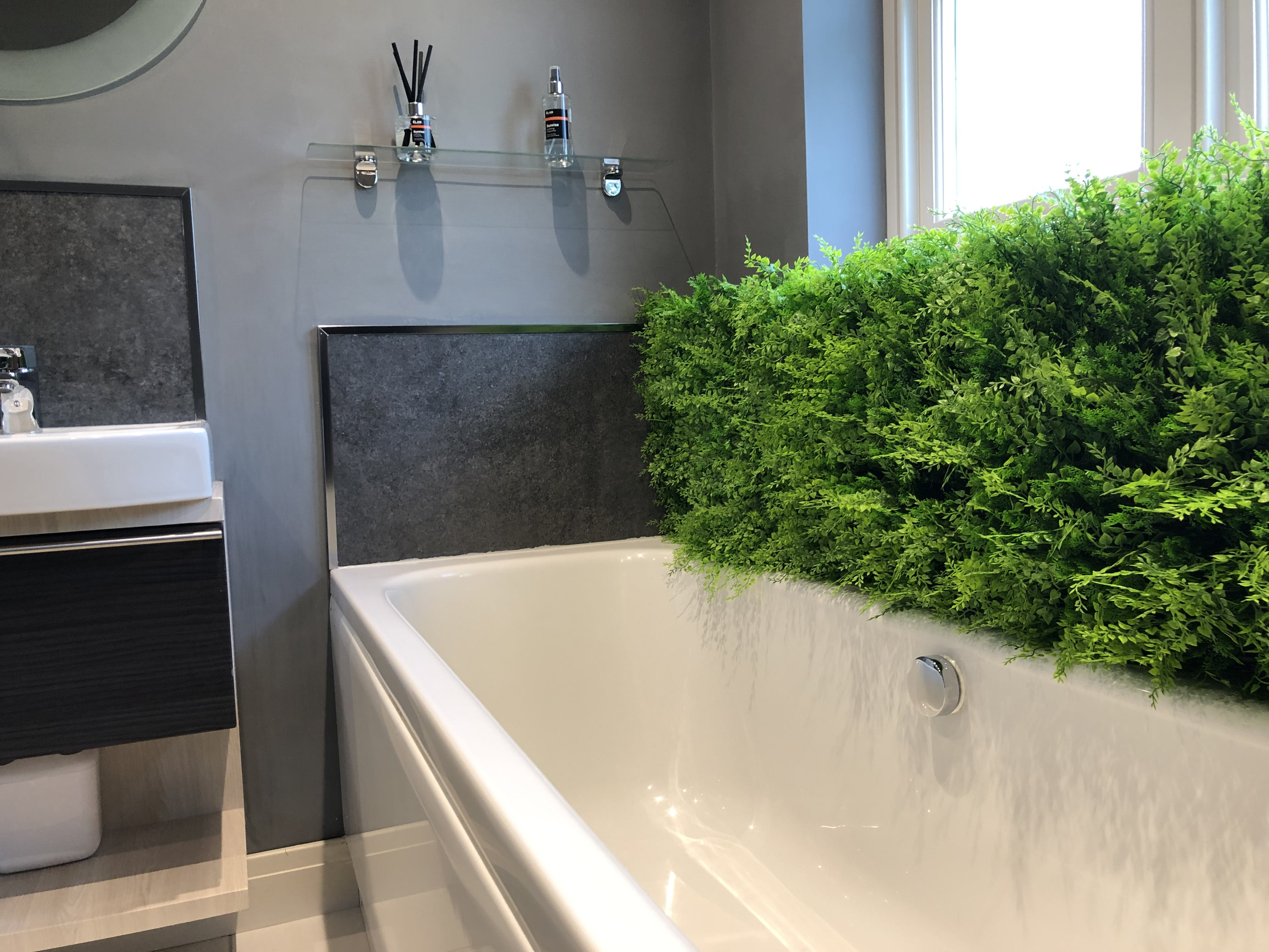 artificial fake living green plant wall