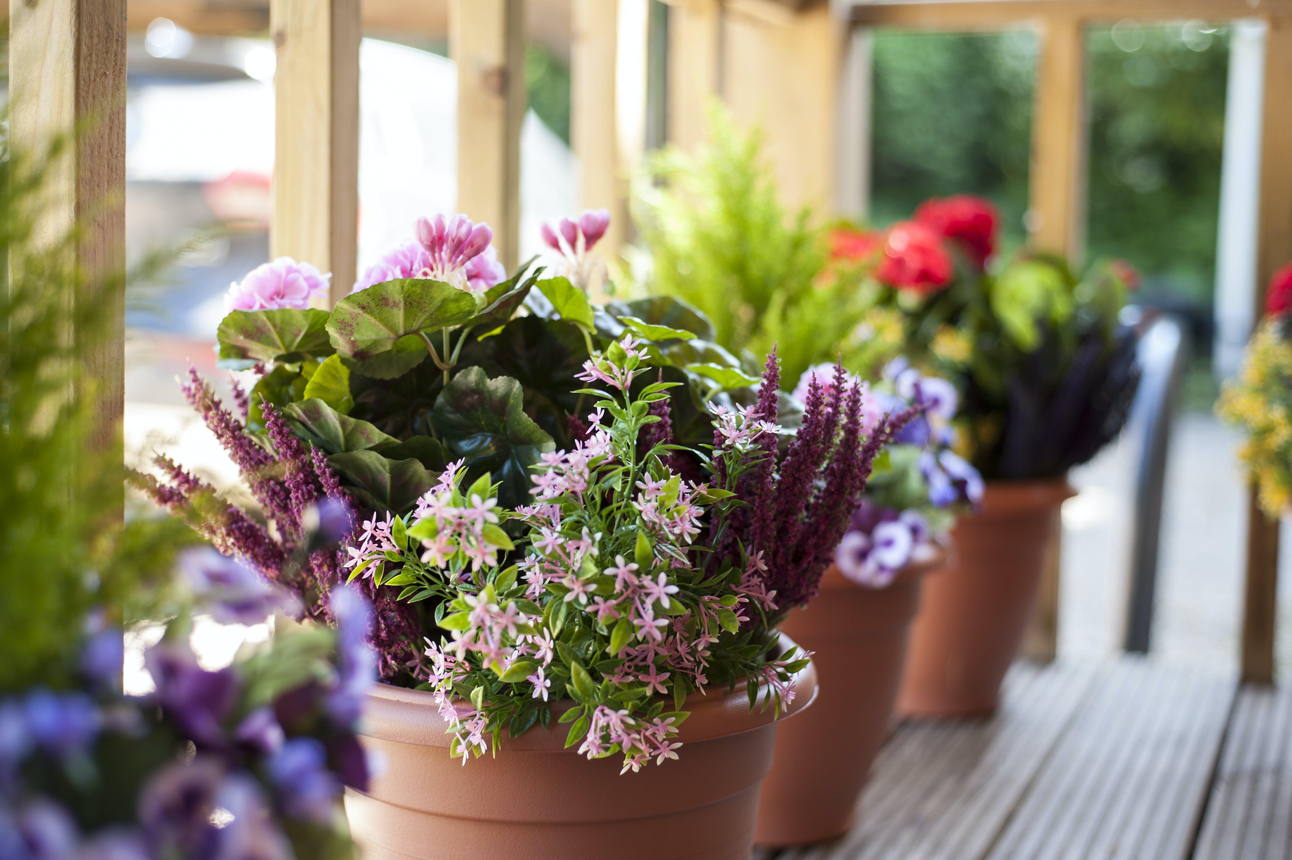 Artificial flowering bushes for garden outside
