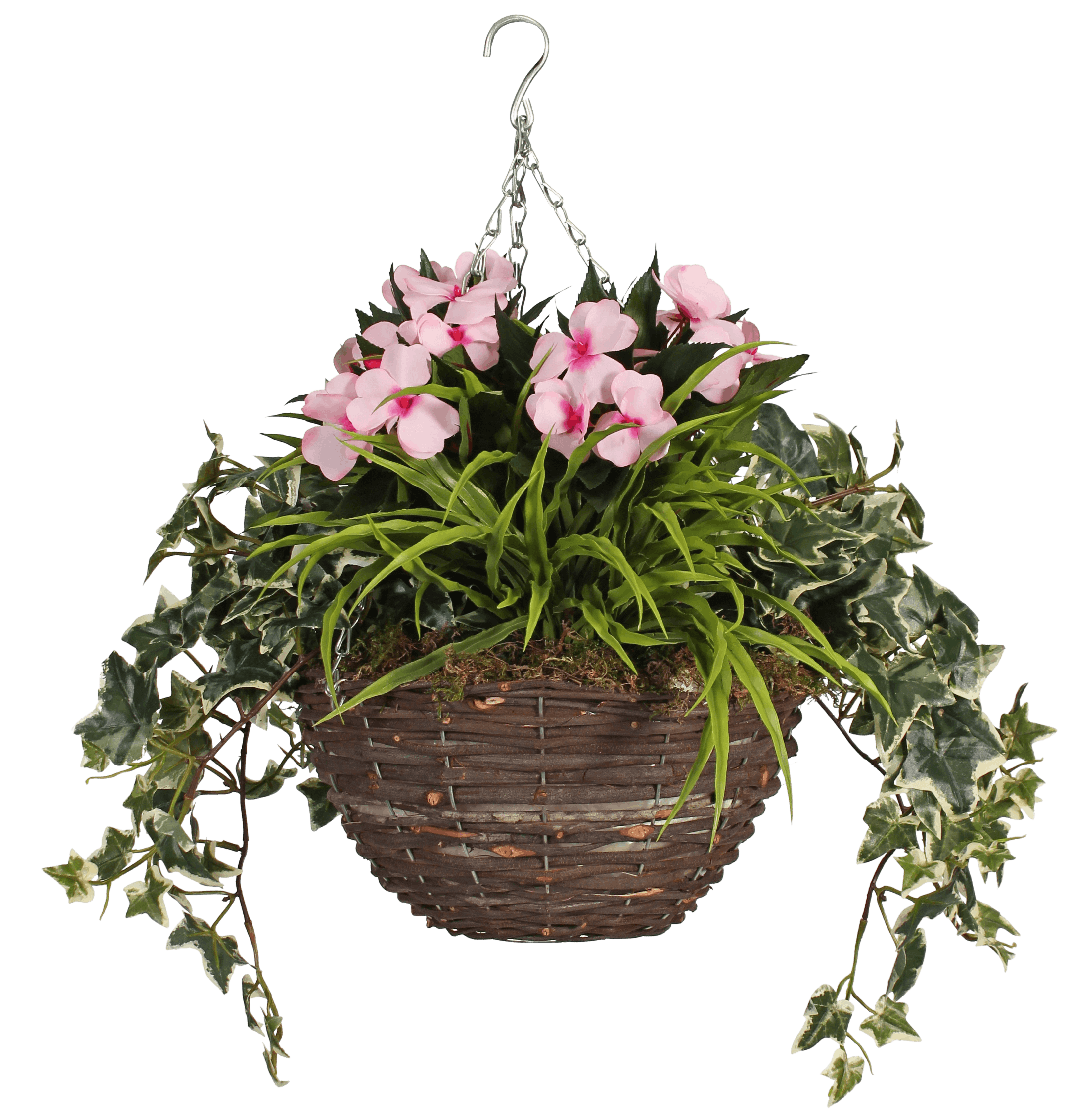 Artificial busy lizzie hanging basket pink