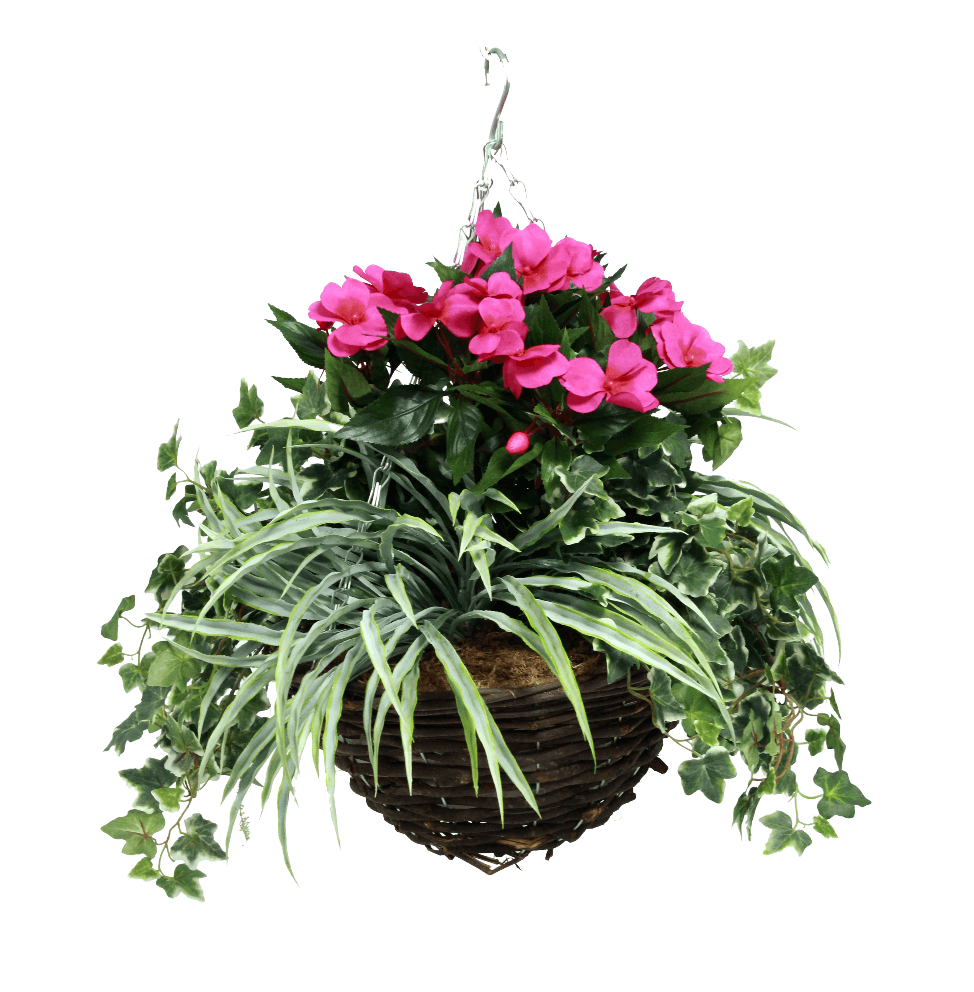 Artificial busy lizzie hanging basket hot pink