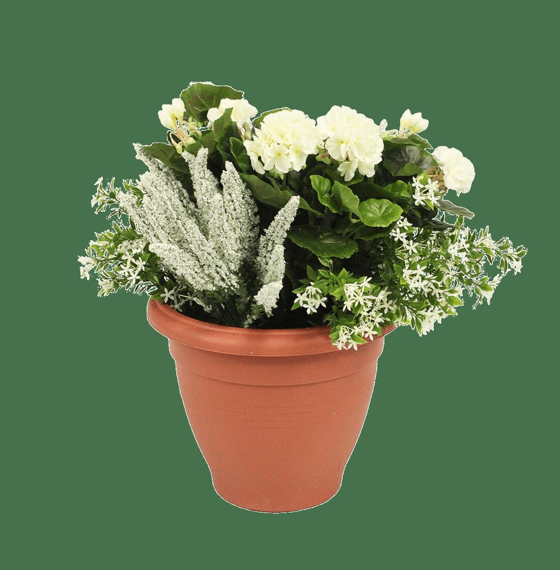 Artificial erica & geranium patio planter cream