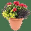 Artificial erica & geranium patio planter red and yellow
