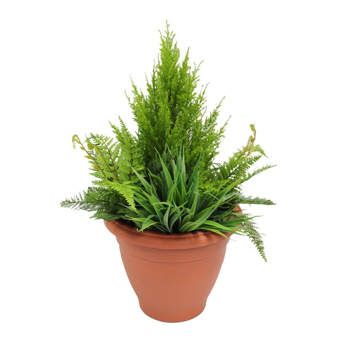 Artificial foliage patio planter