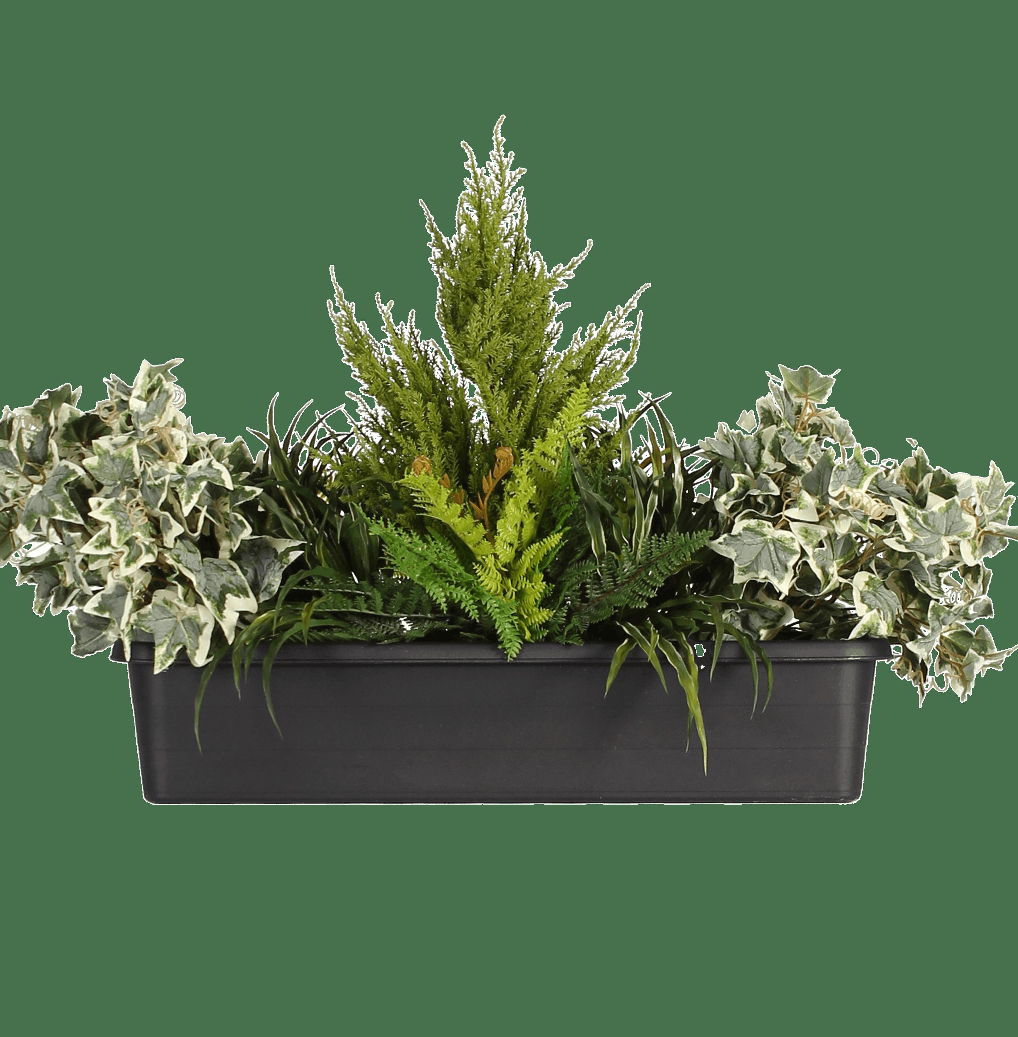 Artificial variegated foliage window box