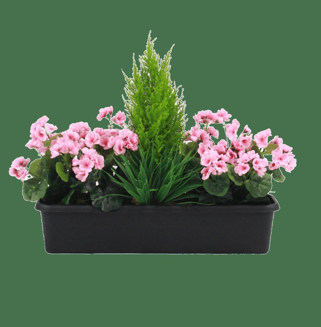 Artificial geranium window box pink