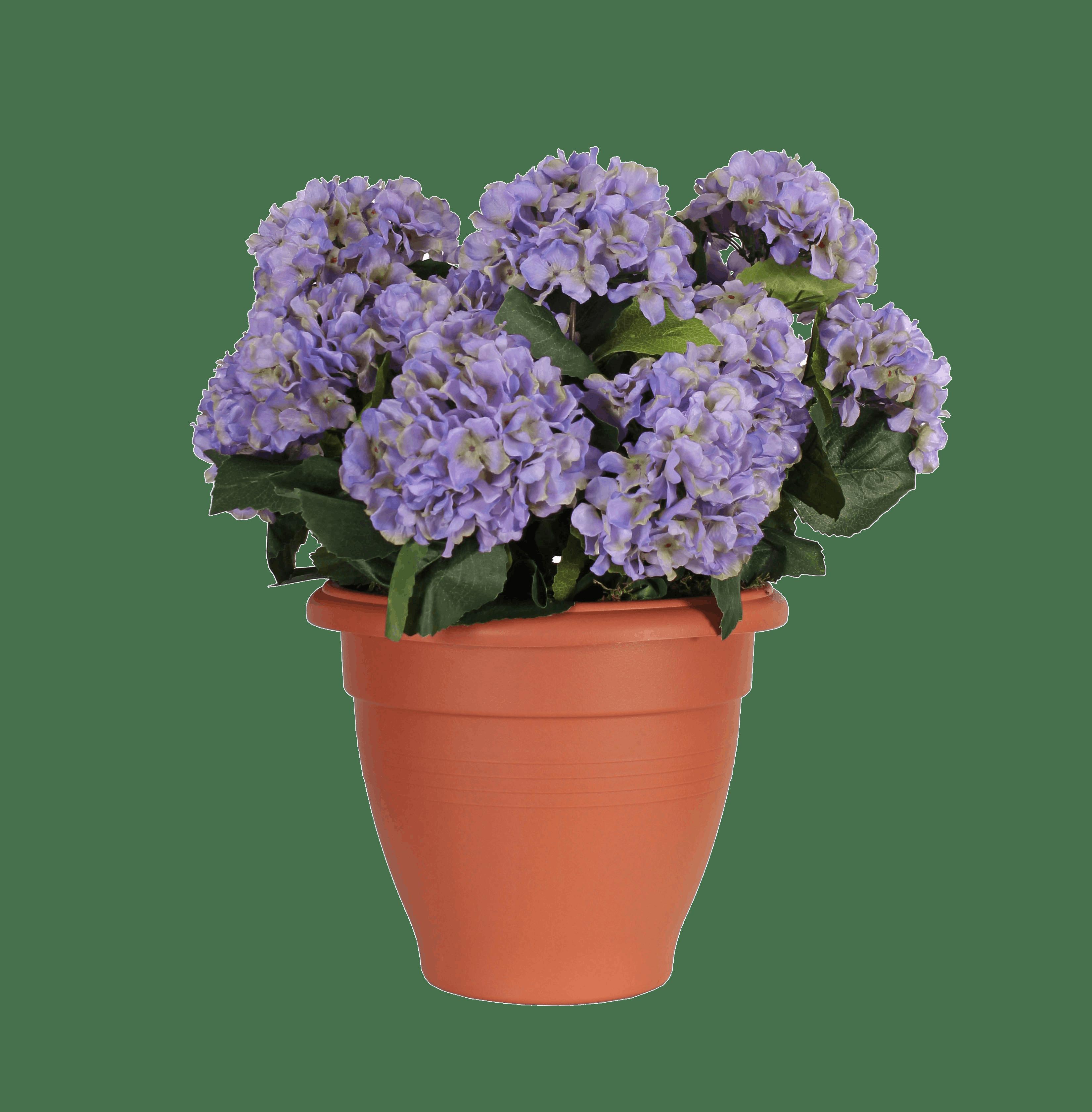 Artificial hydrangea patio planter purple