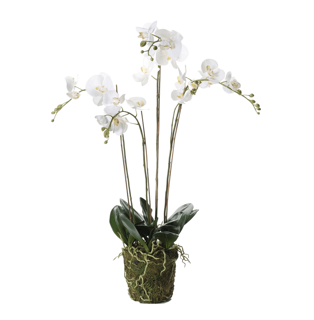 Artificial white moon phalaenopsis orchid 90cm