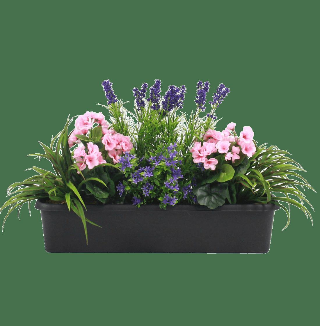 Artificial mixed flower window box