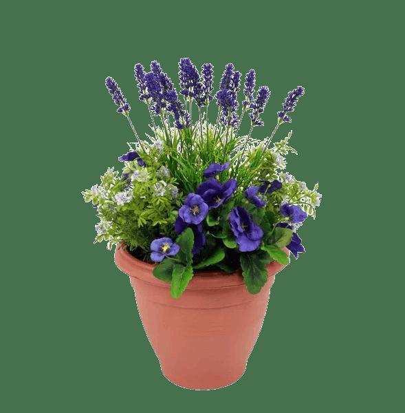 Artificial pansy & lavender patio planter purple