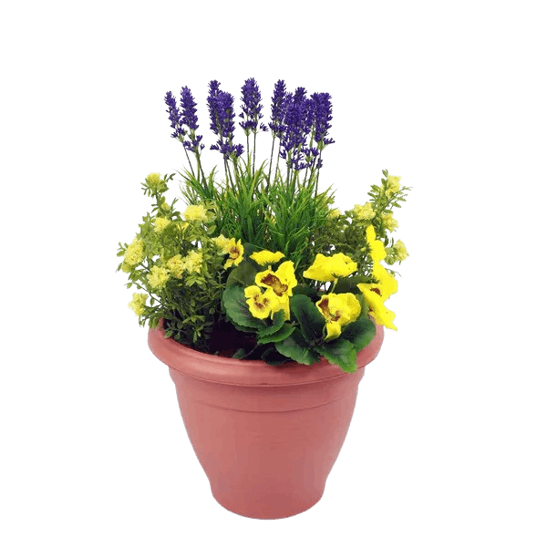 Artificial pansy & lavender patio planter yellow