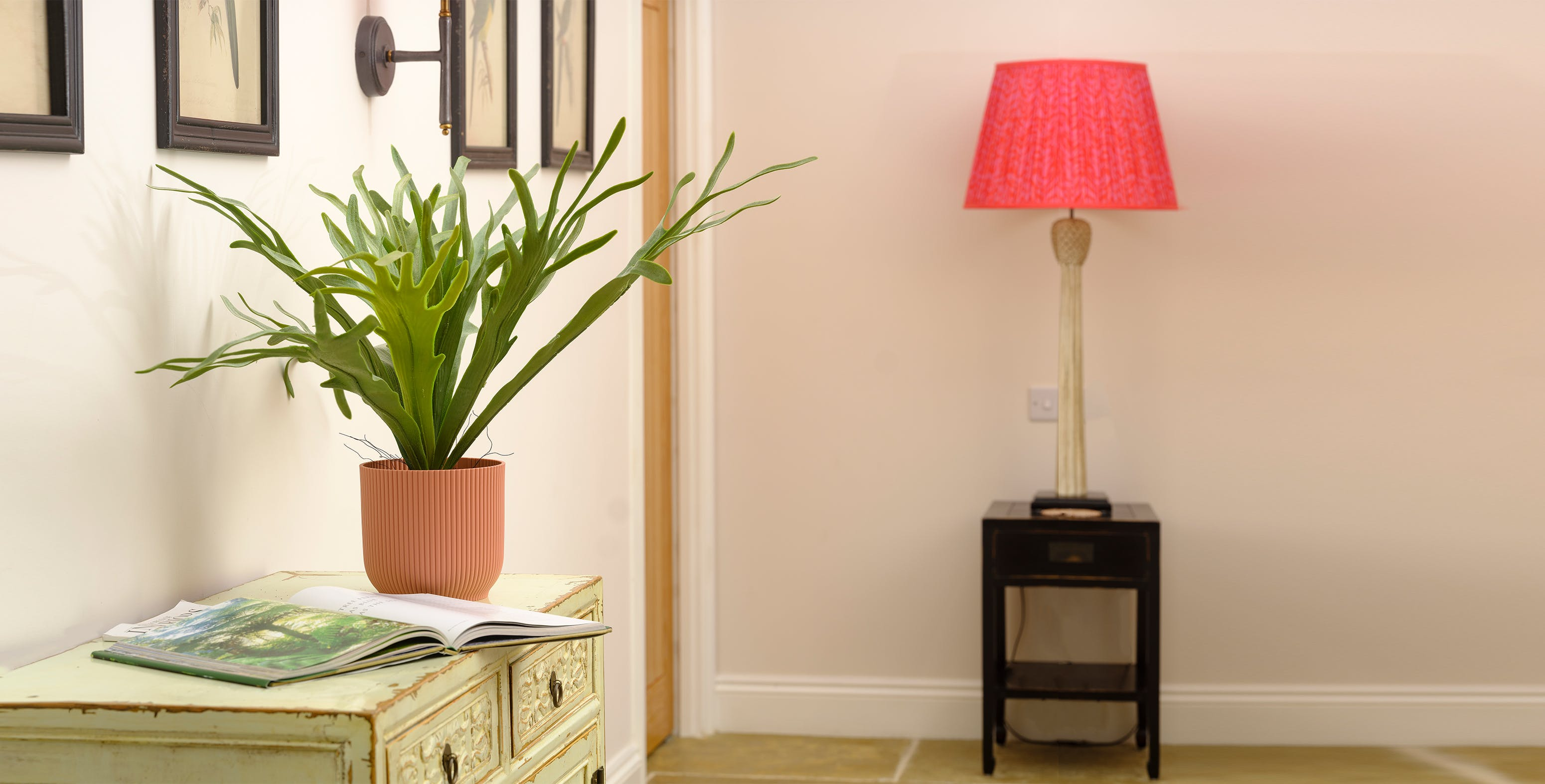 Artificial staghorn fern on sideboard in bedroom