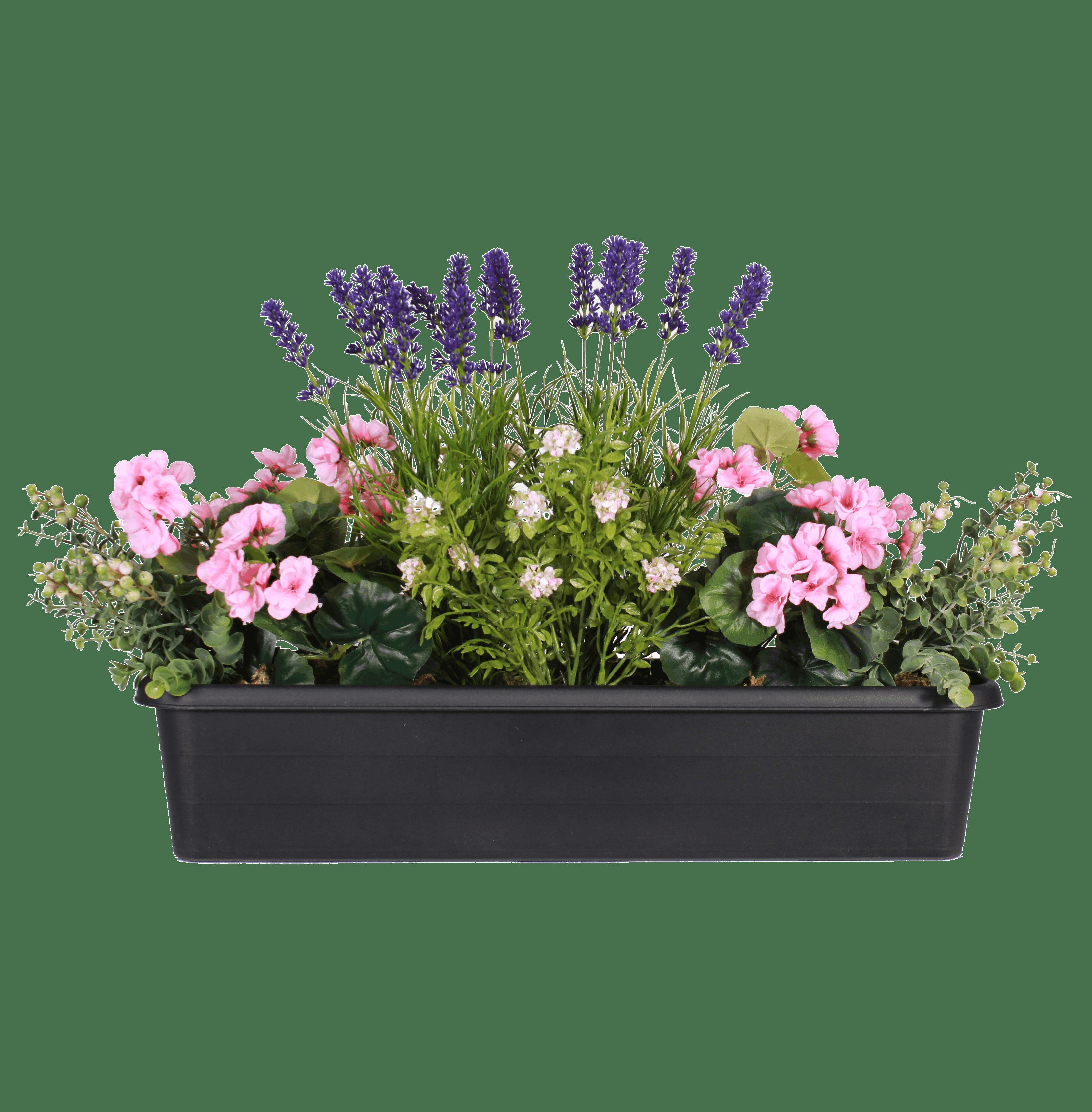 Artificial summer garden window box pink