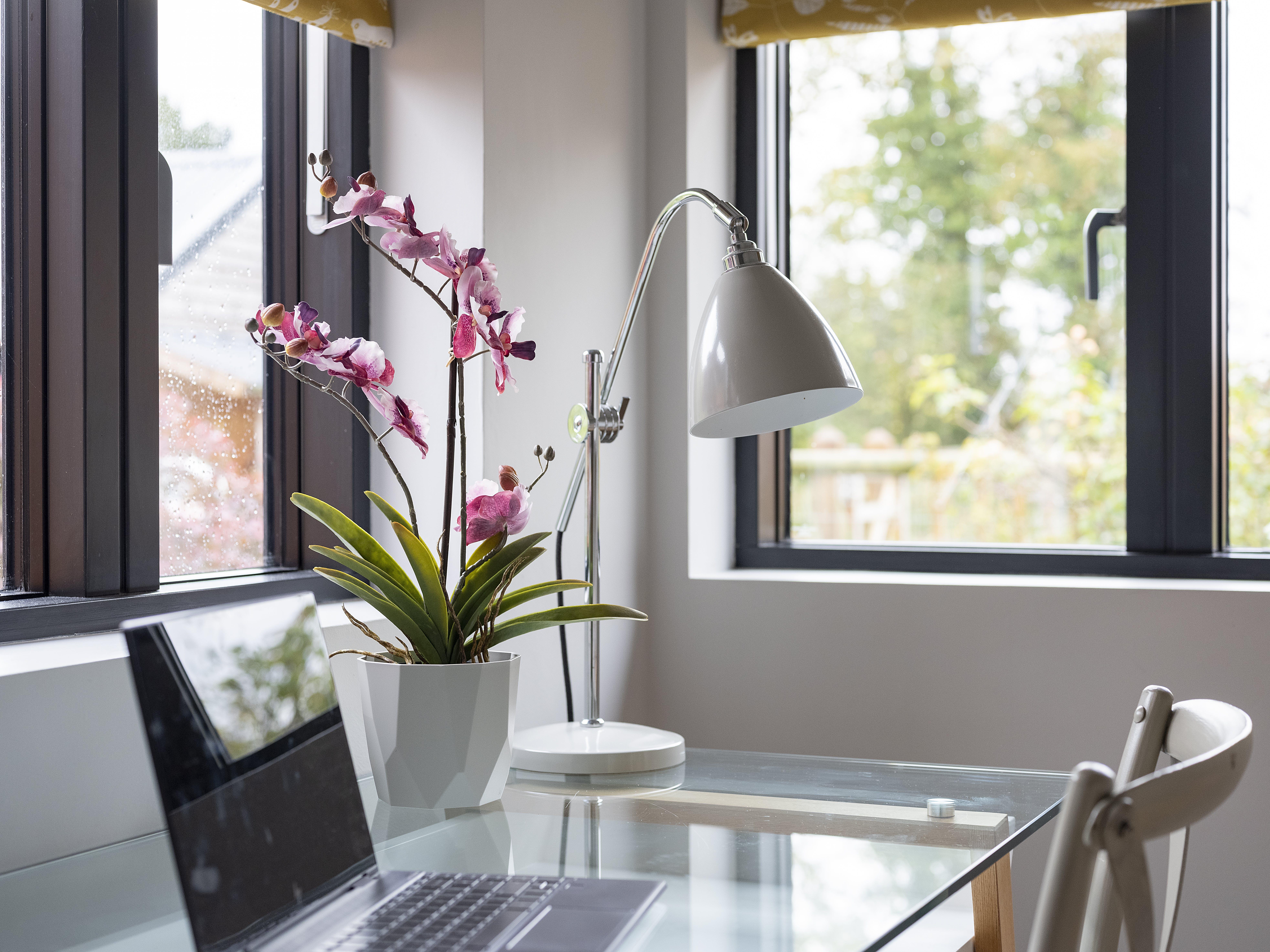 Pink artificial vanda orchid on office desk