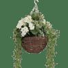 Artificial wild berry & geranium hanging basket cream