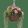 Artificial wild berry & geranium hanging basket pink