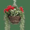 Artificial wild berry & geranium hanging basket red