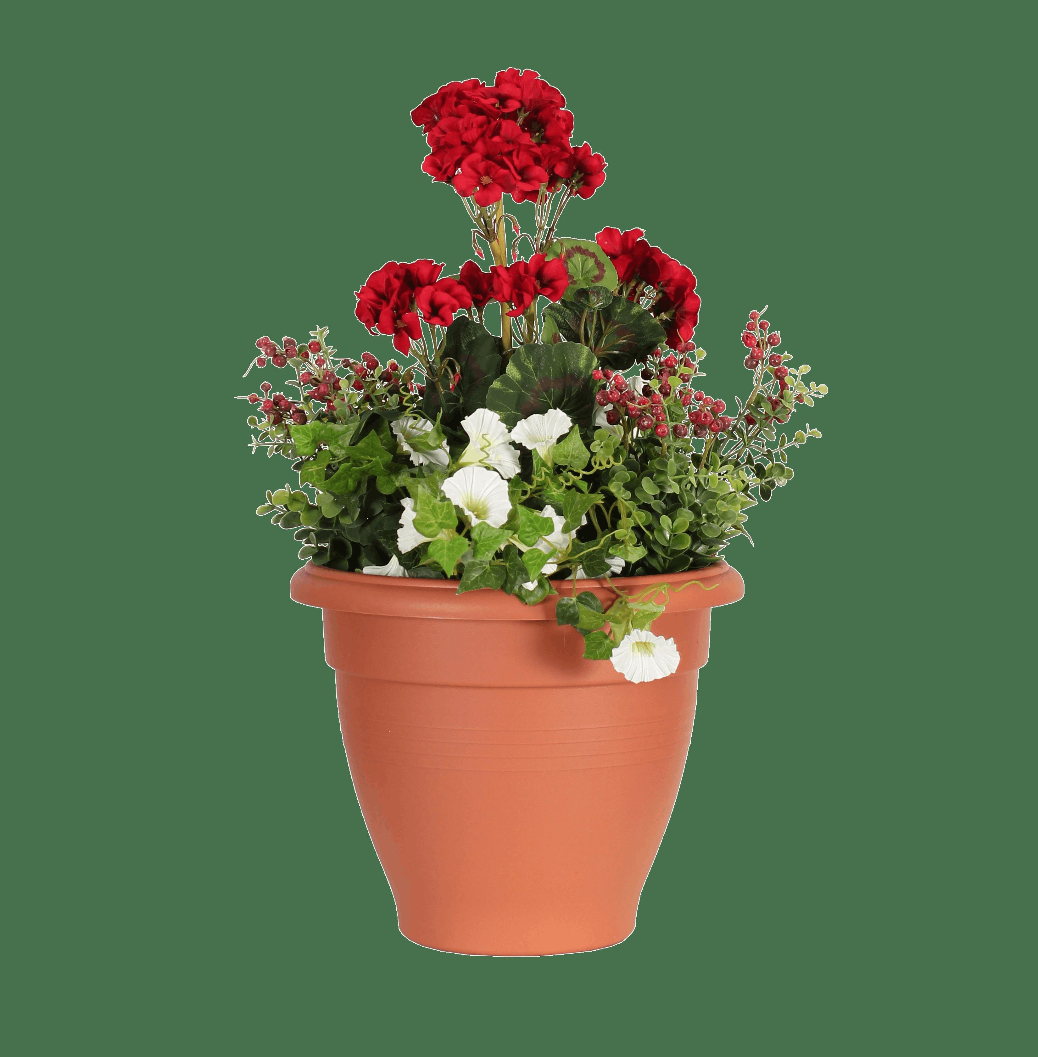 Artificial wild berry & geranium patio planter red