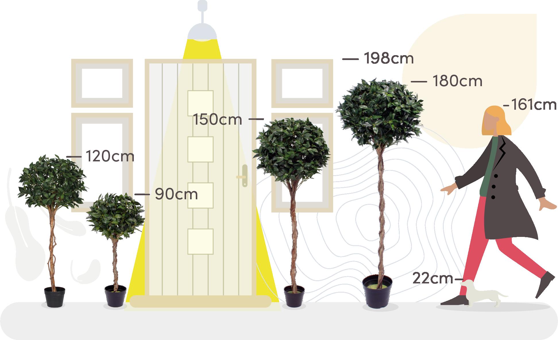 Artificial bay tree size comaparison