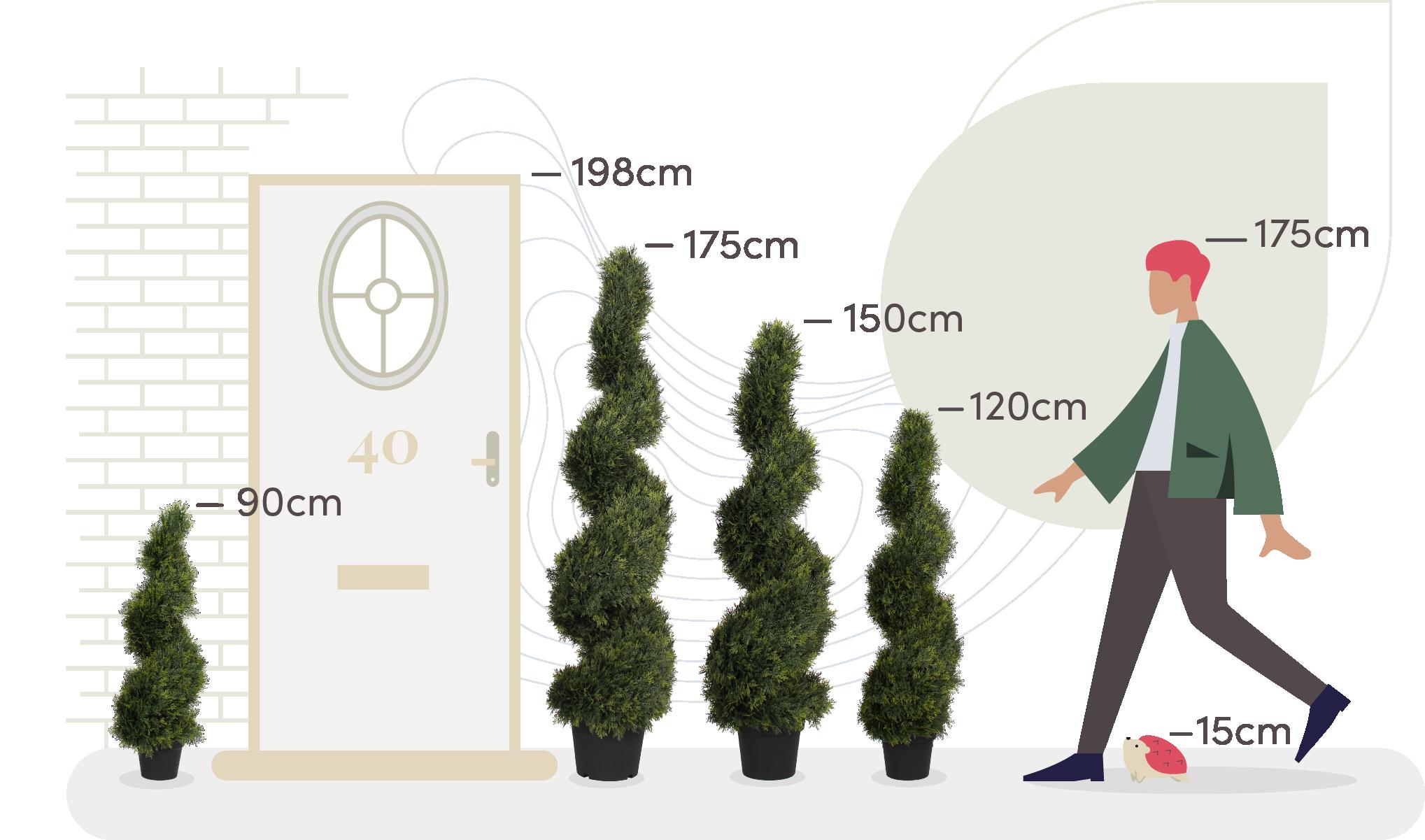 artificial cedar spiral size comparison